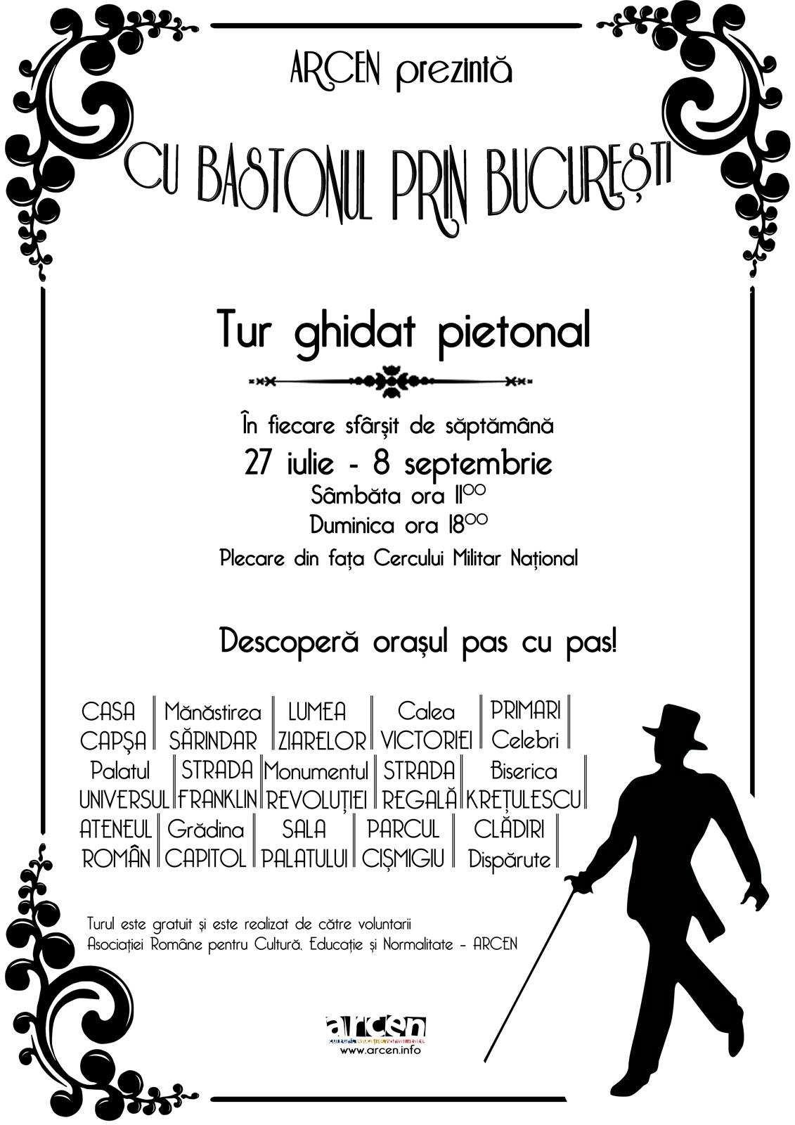 Afis Traseu Cultural cu bastonul prin Bucuresti
